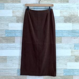 Faux Suede Midi Pencil Skirt Brown Talbots